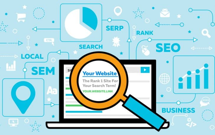 SEO - Search Engine Optimization - Concept with Laptop and Magnifying Glass